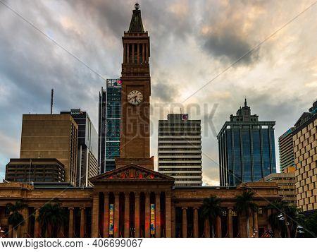 Brisbane City Hall Building With Clock Tower In Australia, Brisbane, 2021