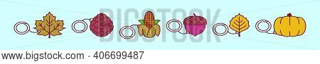 Set Of Autumn Keychain Cartoon Icon Design Template With Various Models. Modern Vector Illustration
