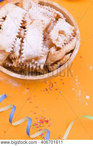 Traditional Italian Carnival Fritters Dusted With Icing Sugar - Frappe Or Chiacchiere . Sweets And F