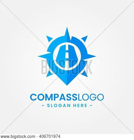 Compass Logo Design Template. Concept Of Gps Map, Adventure, Tourism, Travel, Exploration, Etc. Crea