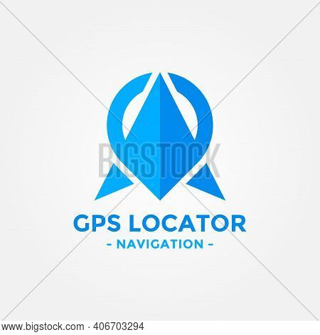 Gps Locator Logo Design Template. Gps Map Location And Direction Icon Vector Combination. Direct Bus
