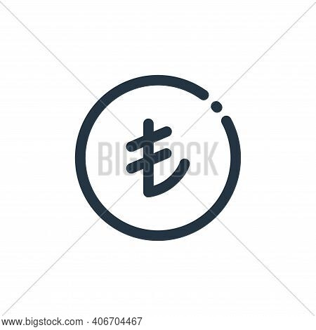 turkish lira icon isolated on white background from currency collection. turkish lira icon thin line