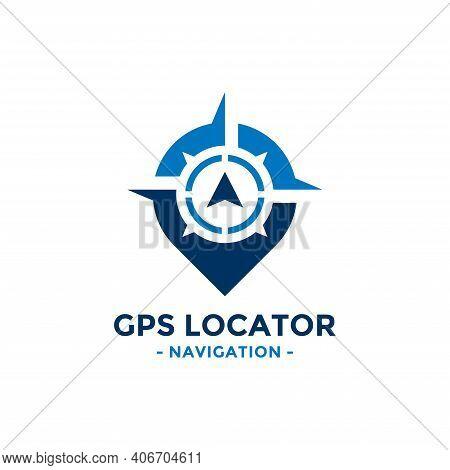 Gps Locator Logo Design Template. Compass And Gps Map Location Icon Vector Combination. Creative Com