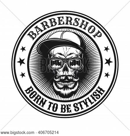 Vintage Vector Illustration Of Stylish Hipster Skull. Monochrome Emblem With Bearded Dead Head In Gl