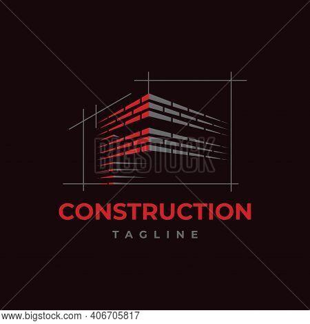 Home Build Symbol Logo Design Vector Template. Brick Work With Letter F Illustration