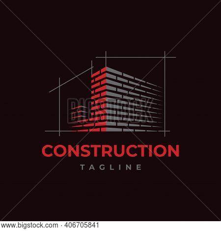 Home Build Symbol Logo Design Vector Template. Brick Work With Letter J Illustration
