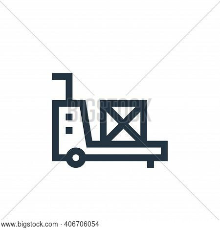 trolley icon isolated on white background from manufacturing collection. trolley icon thin line outl