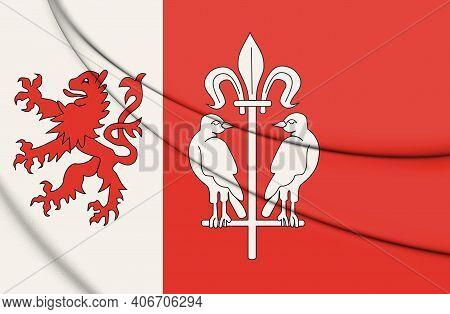 3d Flag Of Wesseling (north Rhine-westphalia), Germany. 3d Illustration.