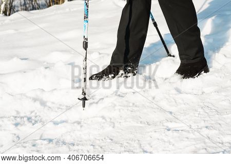 Nordic Walking On Winter Sunny Day. Outdoor Nordic Walking Sticks, Close-up