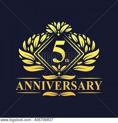 5 Years Anniversary Logo, Luxury Floral Golden 5th Anniversary Logo.