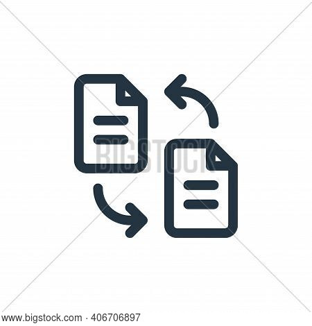 transfer icon isolated on white background from document and files collection. transfer icon thin li