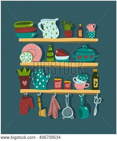 Kitchen Shelves With Cooking Utensils And Tool In Flat Style. Vector Illustration