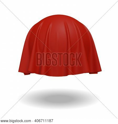 Ball Or Sphere Covered With Red Fabric Isolated On White Background