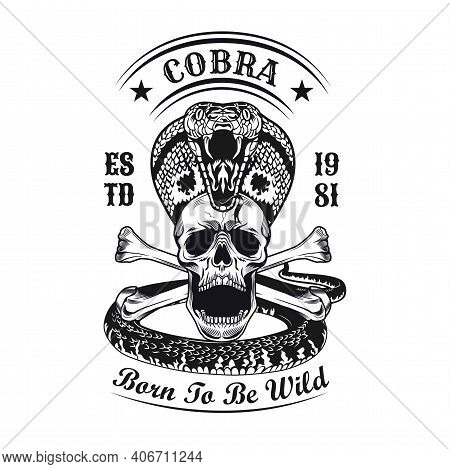 Black King Cobra And Skull Emblem. Monochrome Design Elements With Human Skull, Snake And Text. Goth