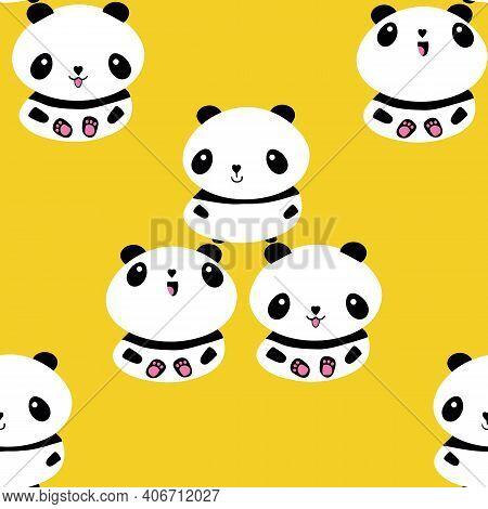 Kawaii Vector Panda Seamless Pattern Pattern Background. Trio Of Cute Black And White Sitting Cartoo