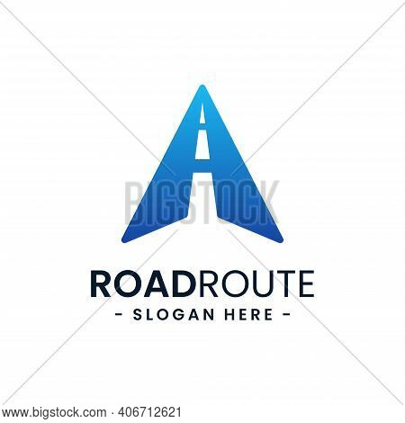 Letter A For Road Route Logo Design Template. Concept Of Destination, Address, Position, Travel, Gps