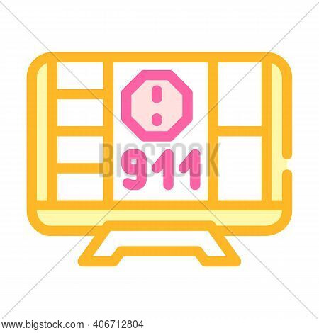 Incident Notification Color Icon Vector Illustration Flat