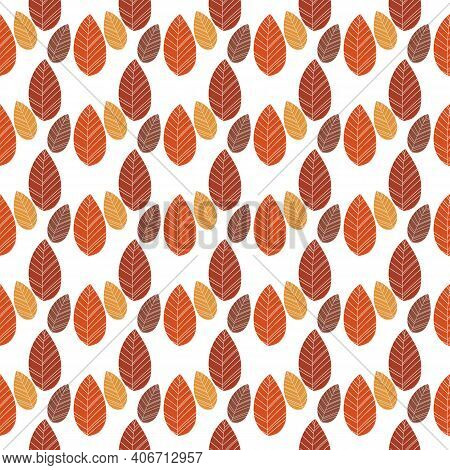 Seamless Pattern Of Leaves With Light Brown And Dark Brown Color Combination