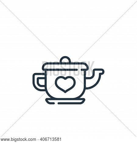 teapot icon isolated on white background from children toys collection. teapot icon thin line outlin