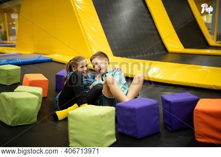 Children Active Leisure. Sports Weekend In Sports Center Of Acrobatics And Trampoline. Physical Educ