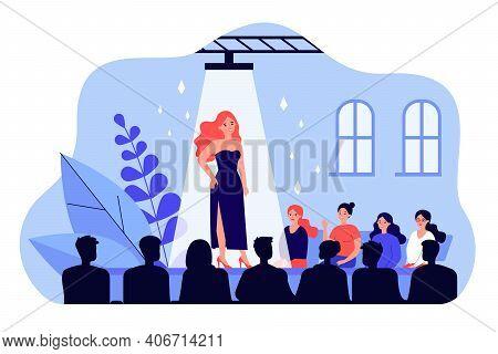 Female Catwalk Model Showing Fashionable Dress Flat Vector Illustration. Happy Audience Crowd Sittin