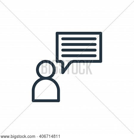 talk icon isolated on white background from business collection. talk icon thin line outline linear