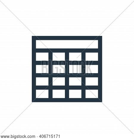 table icon isolated on white background from text editor collection. table icon thin line outline li