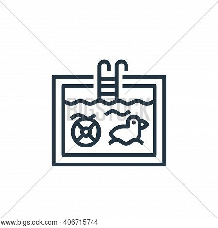 swimming pool icon isolated on white background from travel collection. swimming pool icon thin line