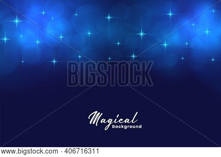 Beautiful Blue Magical Stars And Bokeh Lights Background