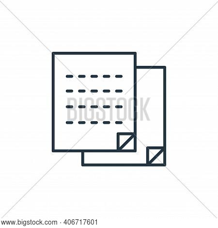 sticky note icon isolated on white background from stationery collection. sticky note icon thin line