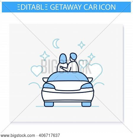 Car Date Night Line Icon. Romantic Pastime Concept. Comfortable Car Helps Relax Together Under Starr