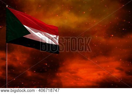Fluttering Sudan Flag Mockup With Blank Space For Your Data On Crimson Red Sky With Smoke Pillars Ba