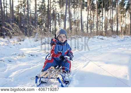 Happy Kids Having Fun And Riding The Sledge In The Winter Snowy Forest, Enjoy Winter Season. Winter,