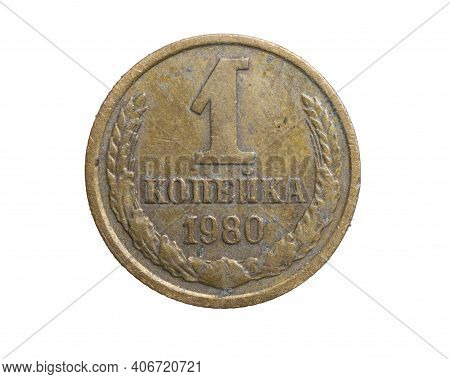 One Cccp Kopeck Coin On A White Isolated Background
