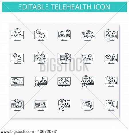 Telehealth Line Icons Set. Virtual Medical Consultation. Remote Healthy Check. Telemedicine, Health