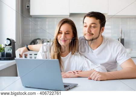 Photo Of A Couple Having Online Consultation With A Family Psychologist. Remote Work Concept. The Pr
