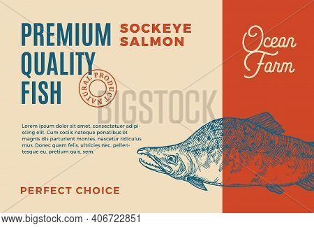 Premium Quality Atlantic Sockey Salmon. Abstract Vector Food Packaging Design Or Label. Modern Typog