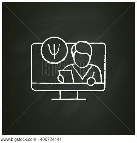 Online Psychiatry Chalk Icon. Telehealth Medical Care. Virtual Psychiatrist Consultation. Telemedici