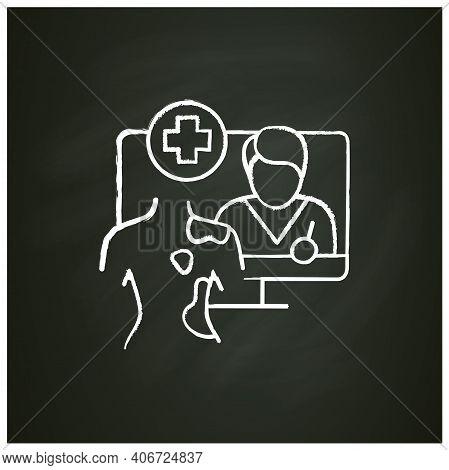 Online Dermatology Chalk Icon.telehealth Medical Care.virtual Dermatology Consultation. Telemedicine