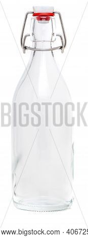 Glass Bottle With Swing Porcelain Closure Of 500 Ml. Without Label And Isolated On White Background.