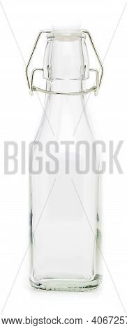 Glass Bottle With Swing Porcelain Closure Of 250 Ml. Without Label And Isolated On White Background.