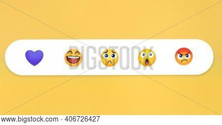 Kiev, Ukraine - January 12, 2021: Viber Like Button Emoji Reactions On Yellow Background, Printed On