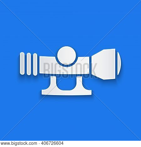 Paper Cut Sniper Optical Sight Icon Isolated On Blue Background. Sniper Scope Crosshairs. Paper Art