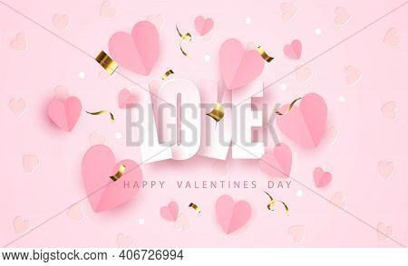 Word Love With Paper Realistic Hearts. Romantic Valentines Day Banner