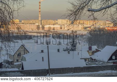 The Left Bank Of The City Of Borisov Lit By The Sun In Winter.