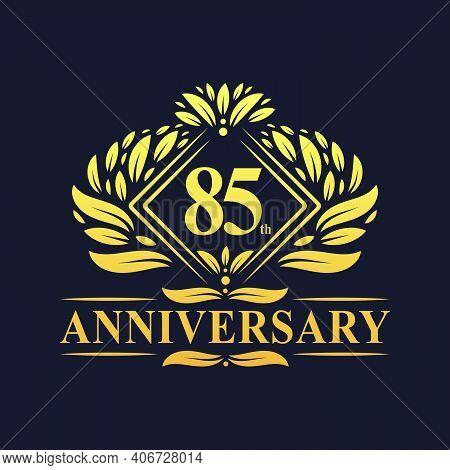 85 Years Anniversary Logo, Luxury Floral Golden 85th Anniversary Logo.
