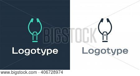 Logotype Meat Tongs Icon Isolated On White Background. Bbq Tongs Sign. Barbecue And Grill Tool. Logo