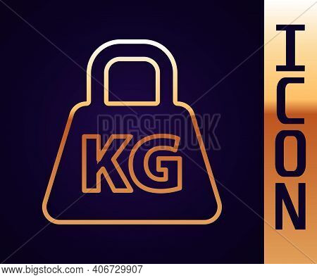 Gold Line Weight Icon Isolated On Black Background. Kilogram Weight Block For Weight Lifting And Sca