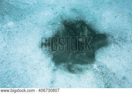 Structure Of Snow And Ice On Frozen Lake. Winter Landscape Concept. Frozen River Surface View In Win