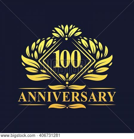100 Years Anniversary Logo, Luxury Floral Golden 100th Anniversary Logo.